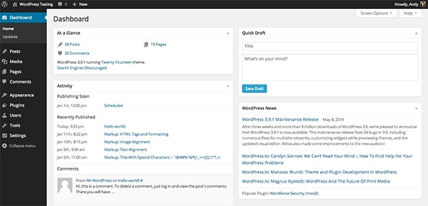 wordpress-hemsida-gränssnitt