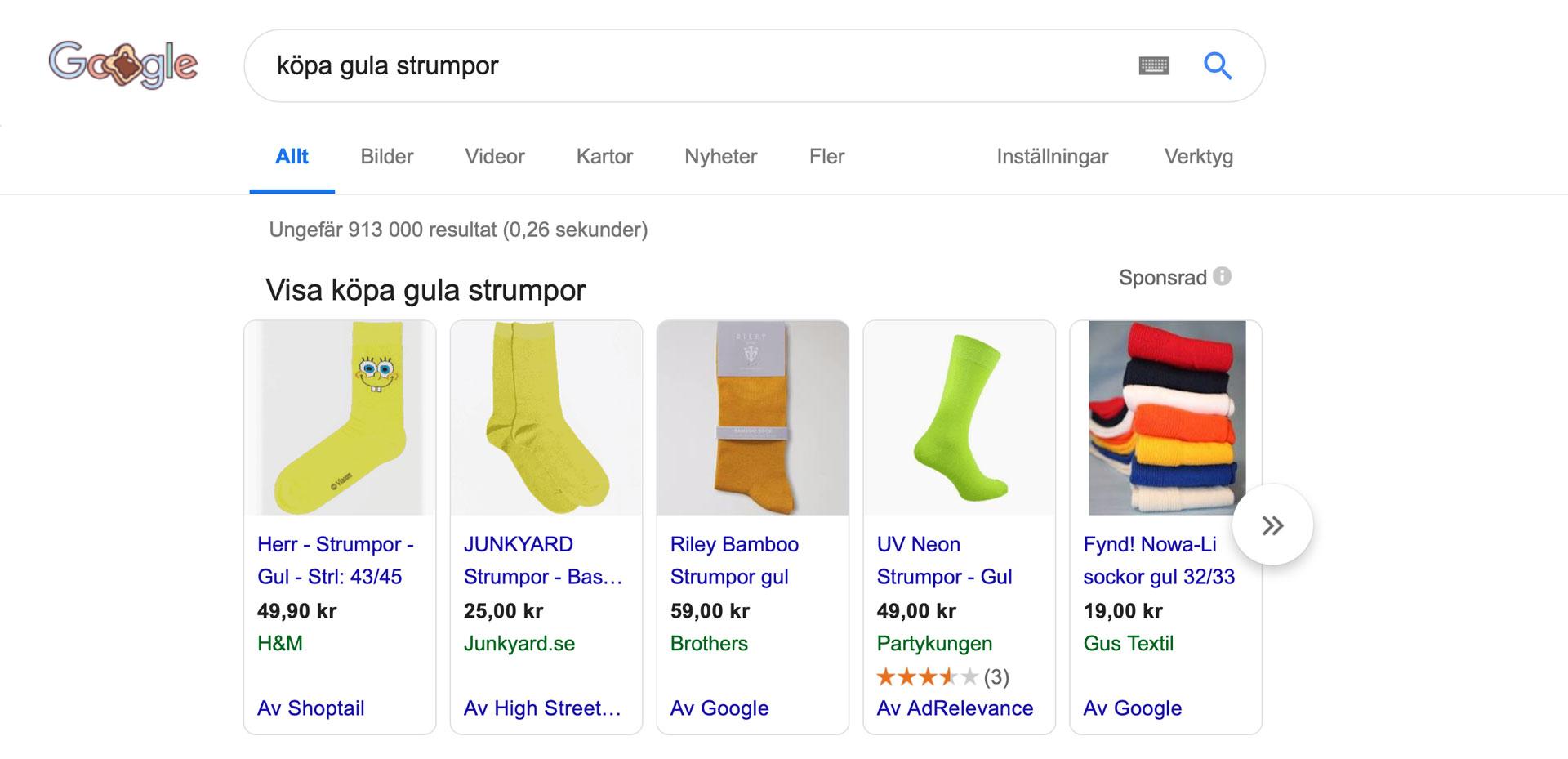 google-ads-annonsering-köpa-strumpor