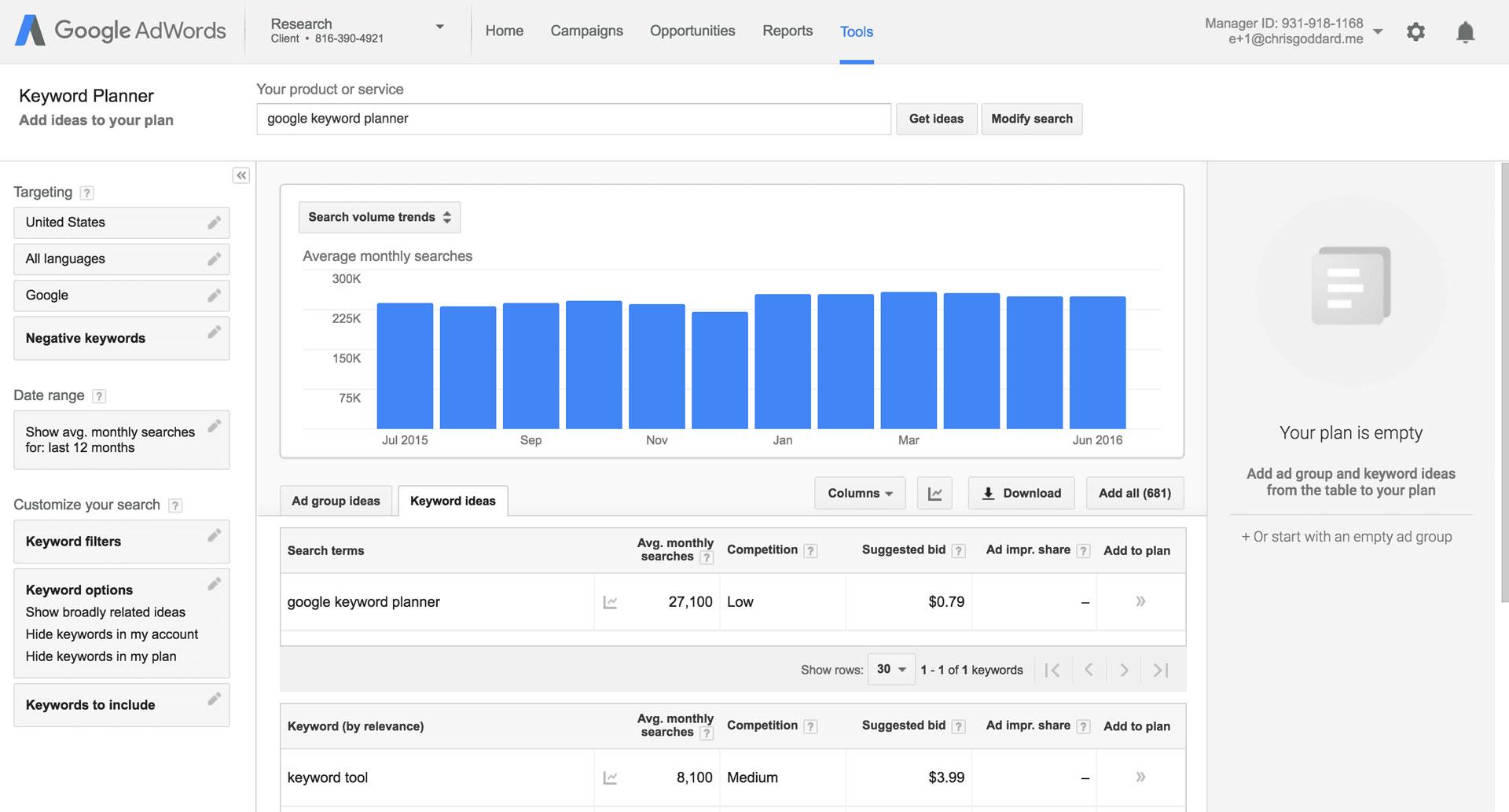 google-sökordsplaneraren
