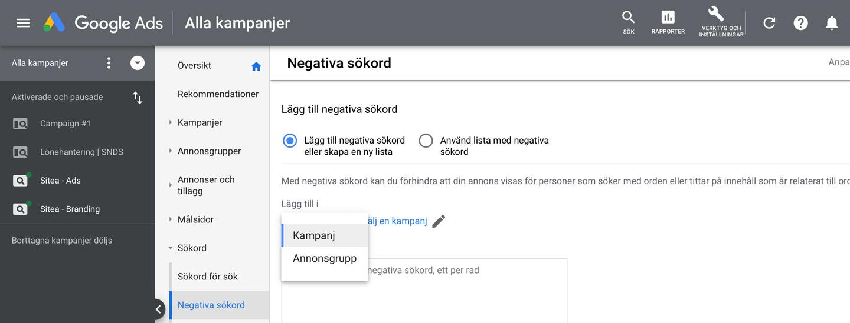 google-ads-negativa-sökord